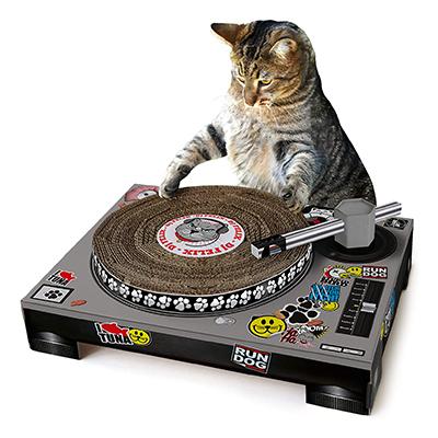 Chat qui fait le DJ sur son griffoir platine
