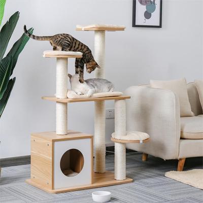 Arbre à chat avec deux chats qui jouent