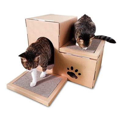 Maison en carton pliable pour chat avec griffoir, tunnel de jeu